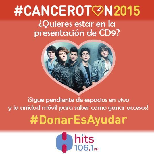¡Accesos para @somosCD9 ! RT, Hashtag #Canceroton2015 y un consejo para prevenir el cáncer. Al aire en @HitsFm1061 http://t.co/RKI2dqH9Hs