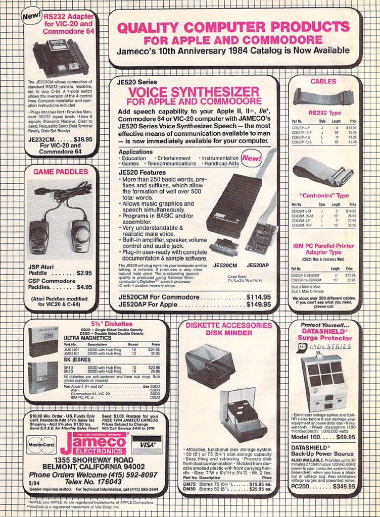Jameco advertisement for JE520 in RUN magazine 1984