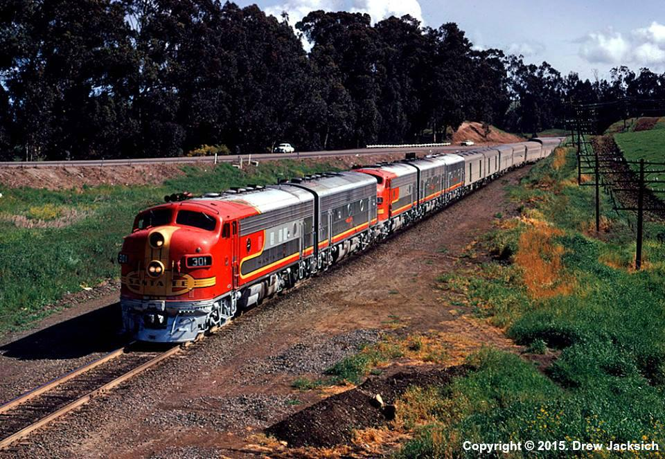 "ATSF #301L (EMD F7) leads the ""San Francisco Chief"" through Hercules, CA in April of 1971. Photo by Drew Jacksich."