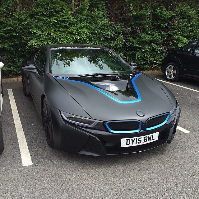 Matte Black Bmw I8 With Blue Details Scoopnest Com