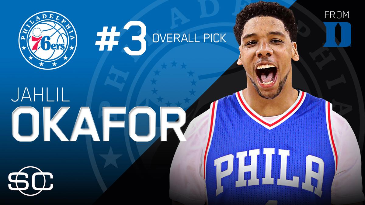 Philadelphia 76ers select Jahlil Okafor with No. 3 pick in #NBADraft.