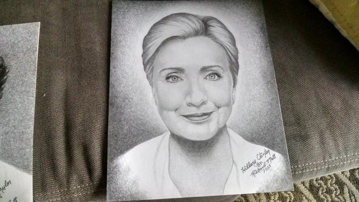 Richard Matt oil paintings of Hillary Clinton
