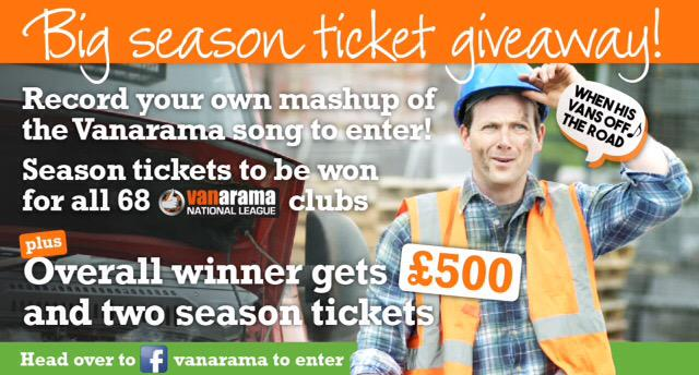 RT @corbytownfc: Want to win 2 free season tickets? Visit the Vanarama Facebook page http://t.co/snx7Oq8NPm #VanaMashUp http://t.co/ffrAF5z…