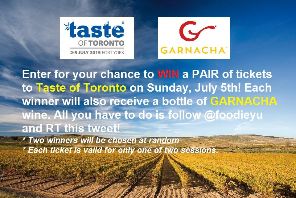 WIN tix to Sunday's @TasteofToronto + @WinesofGarnacha wine! Just follow @foodieyu & RT #TasteofToronto #garnachaTO http://t.co/LBbHI2DYov