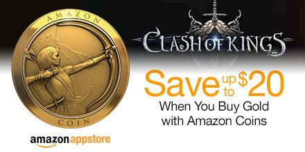 Save up to $20 when you buy Gold in @ClashOfKingsCOK with Amazon Coins. http://t.co/jolw8bfhpt #AmazonCoins http://t.co/qZ9EjK9rpm