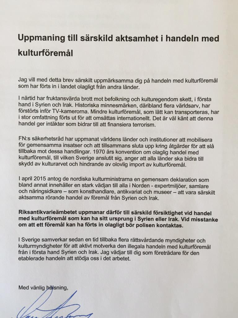 RT @LarsAmreus: Skriver brev till hela Sveriges antik- och auktionshandel. Angeläget budskap. Tacksam för RT. #Unite4Heritage http://t.co/q…