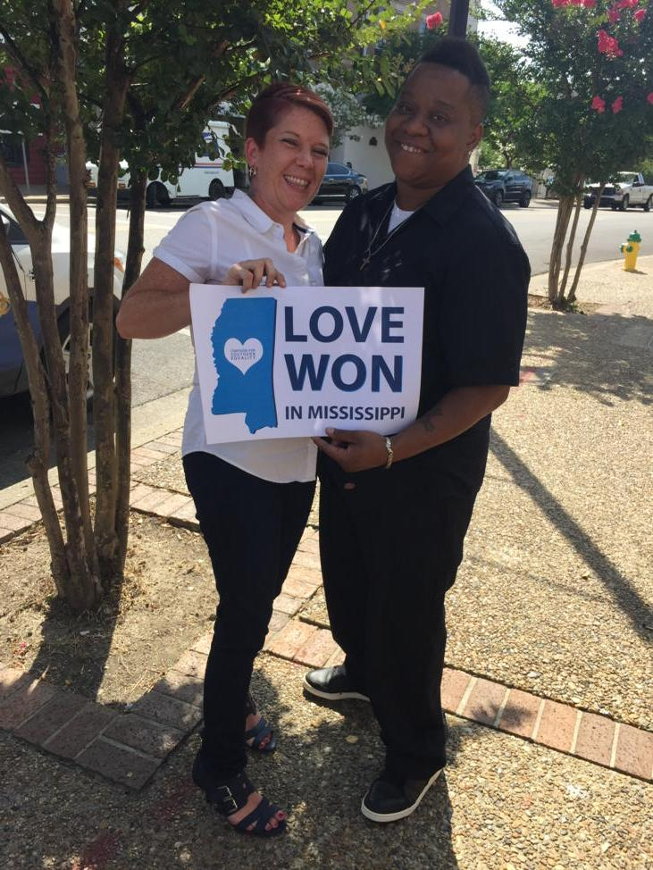Amber and Annice Hamilton are applying for marriage license in Hattiesburg, Mississippi right now. #LGBT http://t.co/yPhxsA5SpC