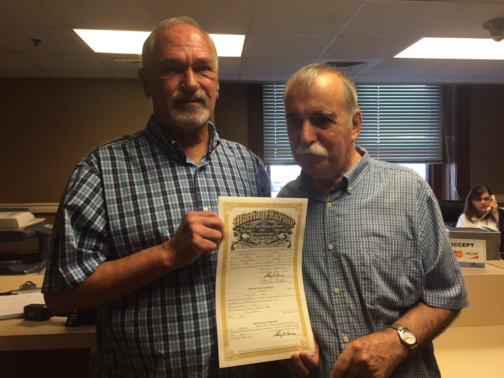 First same-sex marriage license just issued in Arkansas post the SCOTUS ruling. http://t.co/dndR0ROy1u