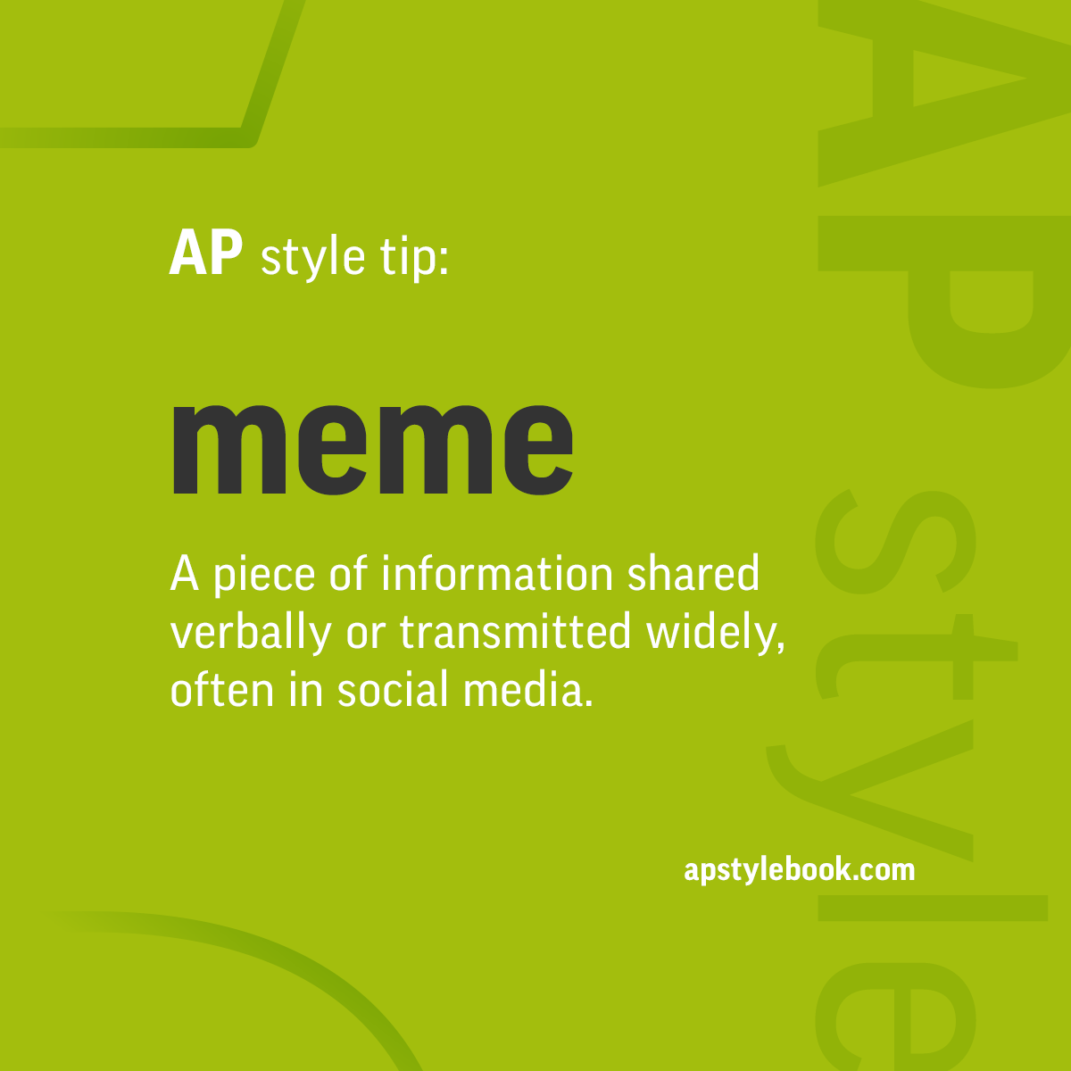 ap stylebook on twitter ap style tip a meme is a piece of information shared verbally or. Black Bedroom Furniture Sets. Home Design Ideas