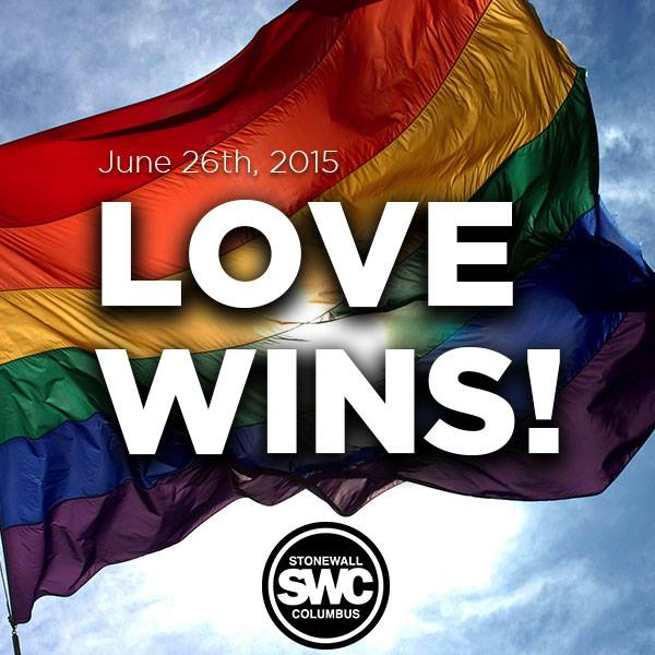 LOVE WINS. #MarriageEquaility #loveislove #lovewins @stonewallcmh http://t.co/6YnX7fdCzv