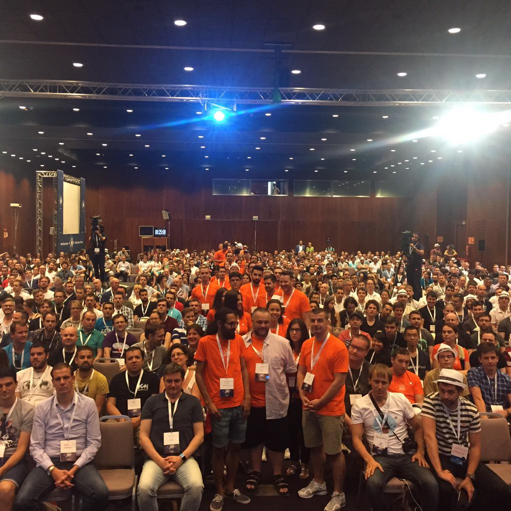 WordCamp EU! One of the benefits of being a MC is getting to take a shot like this! #wceu https://t.co/UKnsPdbyXx http://t.co/FTmHBjkDHJ