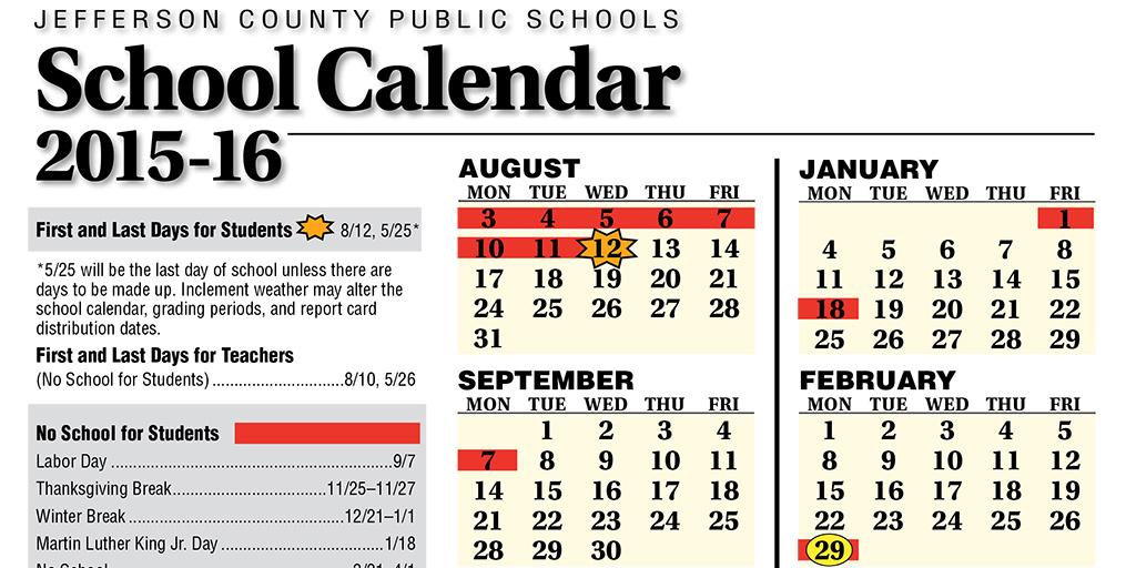 Jefferson County School Calendar.Jcps On Twitter A New Day A New School Year This Printed 2 Page