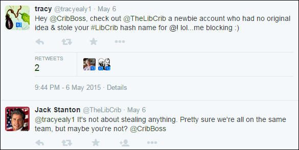 Who is @TheLibCrib kwilliams and why did s/he co-opt #LibCrib originated by @CribBoss Russ Hayden?  CIcI2C0UcAA-Jzk