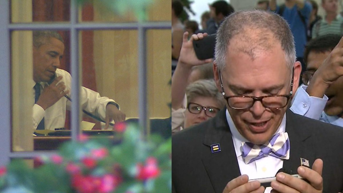 #Obama's emotional call to #SCOTUS plaintiff Jim Obergefell: Captured by cams on both ends > http://t.co/qN9NF8BFnm http://t.co/qncraVMOcV
