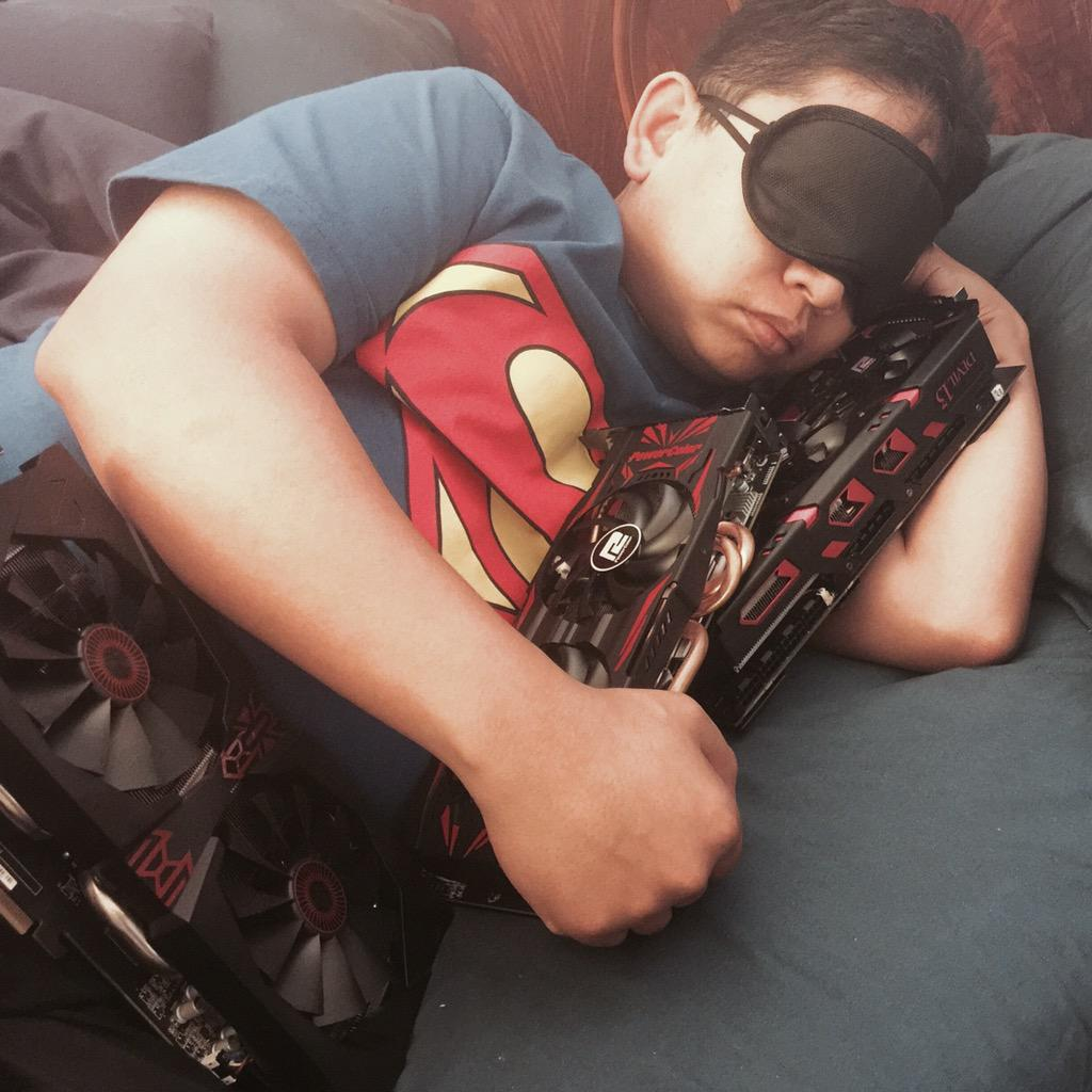 Someone took a pic while I was asleep with my @AMDRadeon GPUs. #guyscuddlingwithvideocards #AMDRTP http://t.co/bXv0pUjHGy