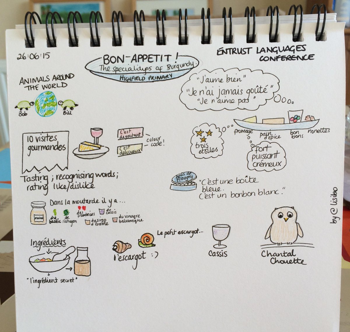 #sketchnote of excellent session at #EntrustLang about French language learning linked to food tasting/making :) http://t.co/z8dmycBS1F
