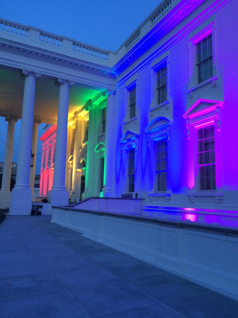 The @WhiteHouse is showing its pride tonight. #LoveWins http://t.co/EUFw4D7qLG