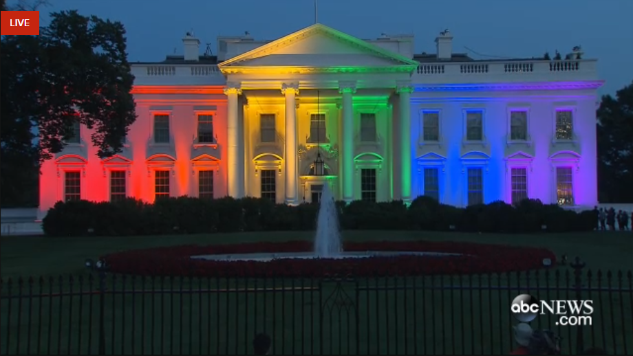 White House lit in rainbow colors following US Supreme Court ruling that same-sex couples have right to marry.