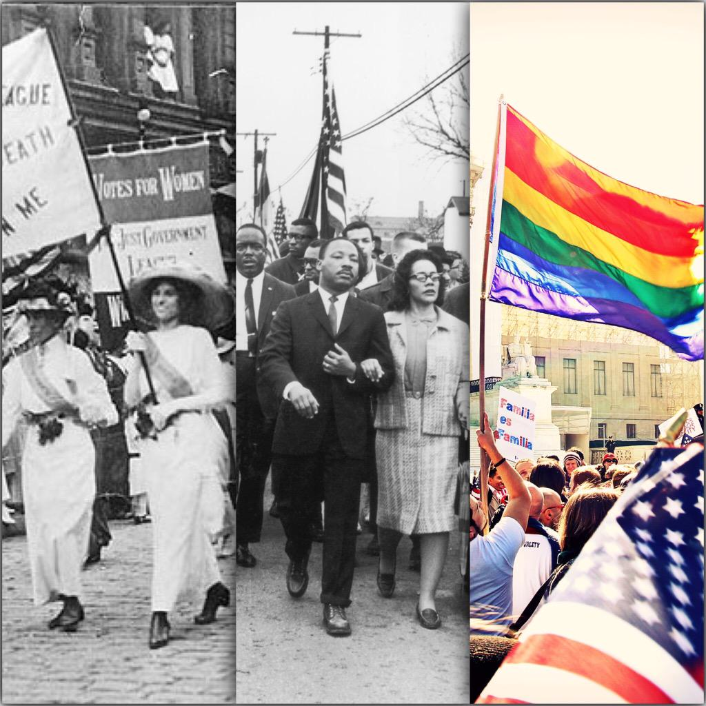 Sometimes history gets it right! #ProudToBeAnAmerican #RightSideOfHistory Next stop, pay equality for women! http://t.co/DmK24efqF0