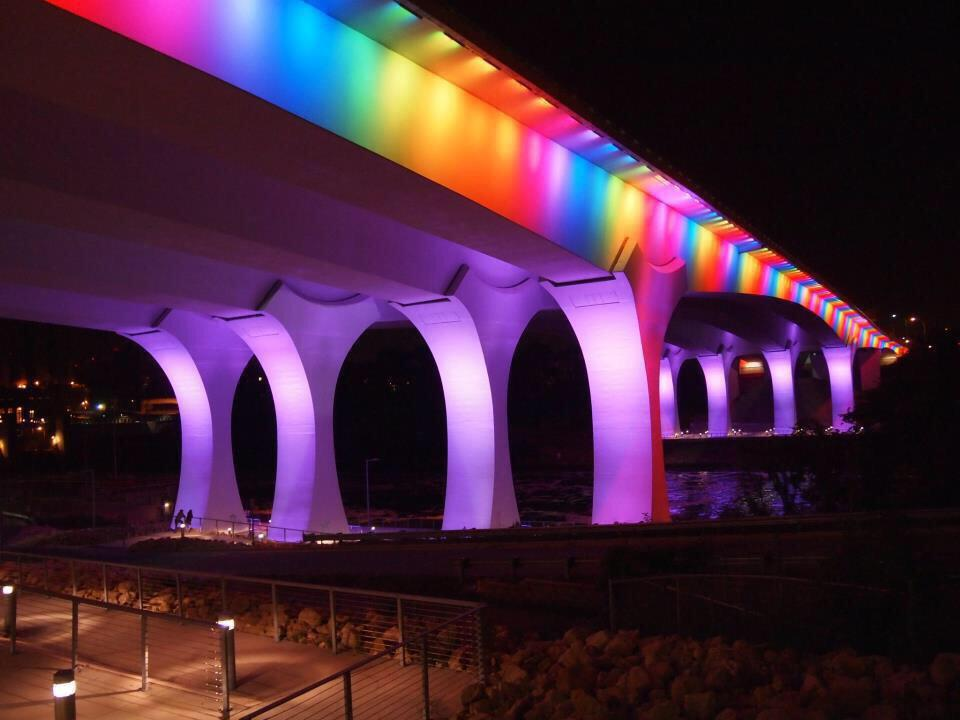 I-35 bridge in Minneapolis in rainbow colors