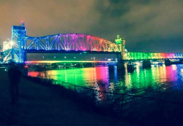 Little Rock bridge in rainbow colors