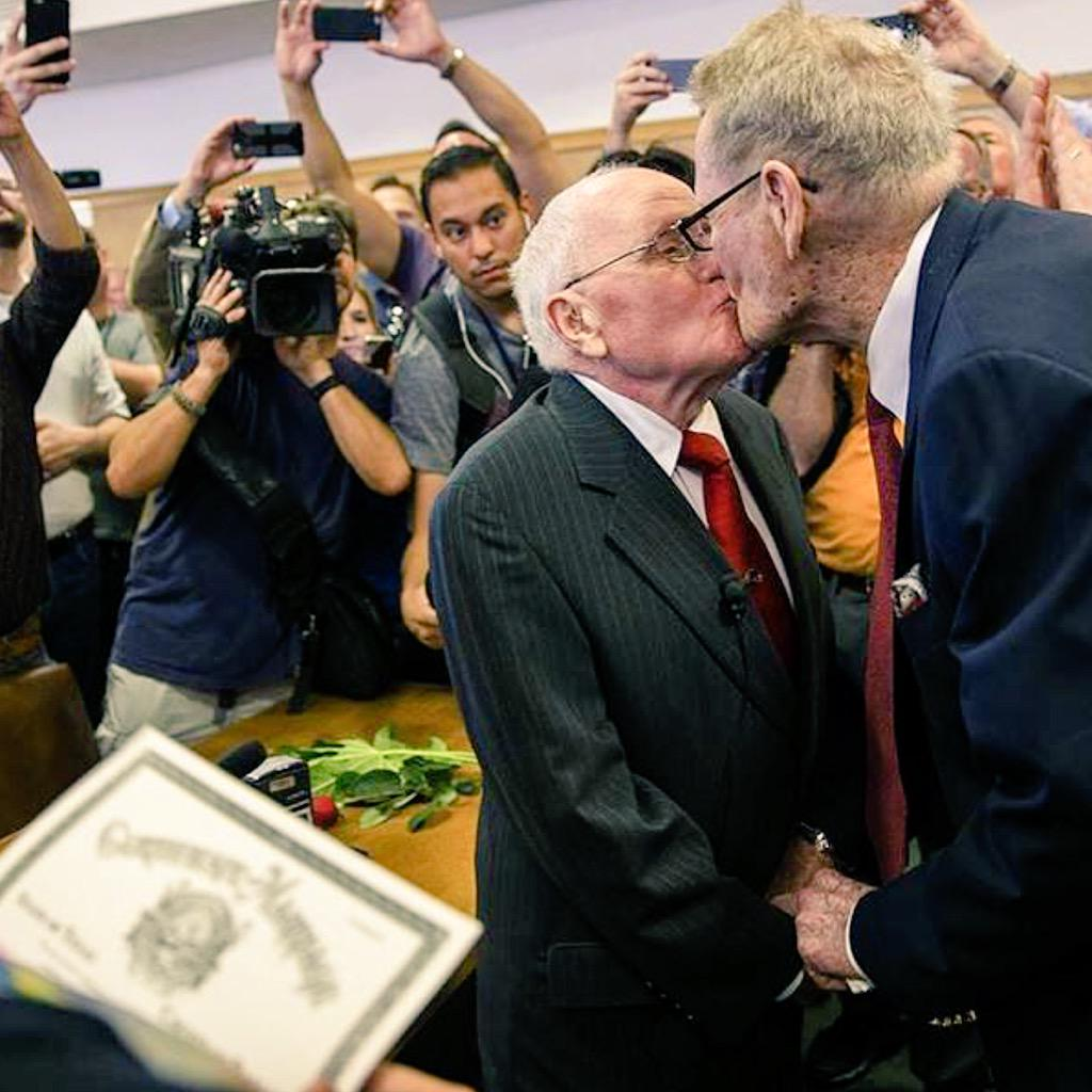 George Harris, 82 and Jack Evans, 85. Together for 54 years. 1st Gay couple to be married in Dallas. #LoveWins ❤️