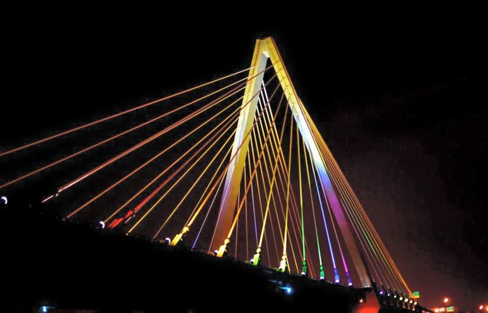 Kansas City bridge in rainbow colors