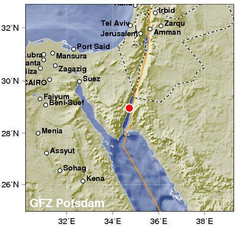 Terremoto Egitto Oggi Penisola del Sinai in tempo reale - FOTO MAPPA