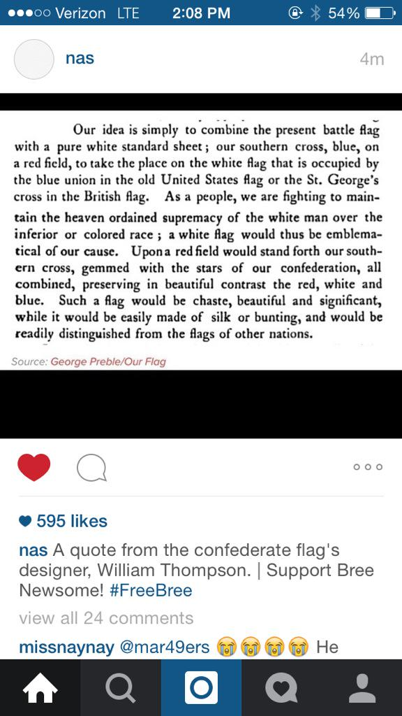 @Nas: A quote from Confederate flag's designer, William Thompson. | Support Bree Newsome #FreeBree #TakeItDown http://t.co/SNCgsi1HCg
