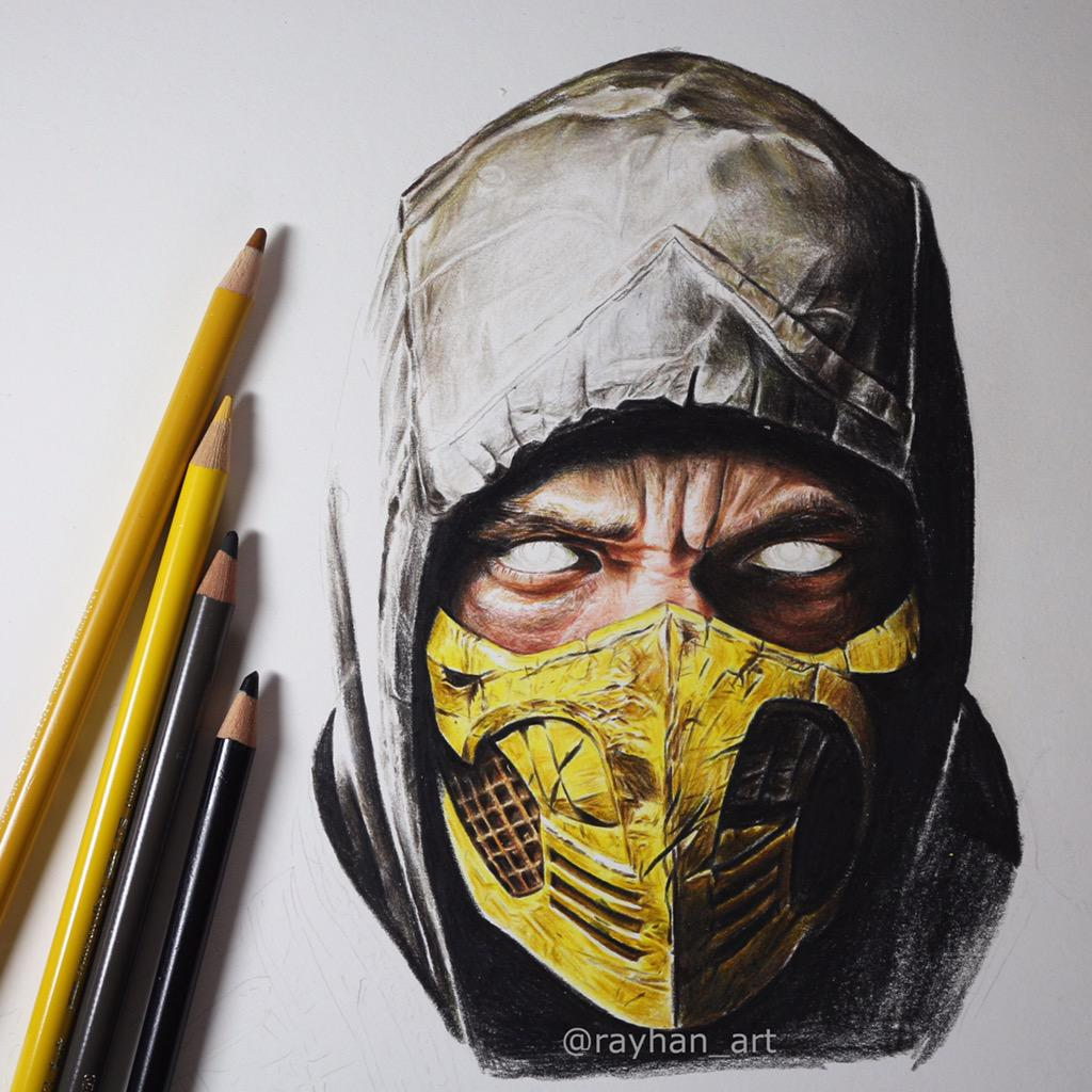 Ed Boon On Twitter Rayhan 93 Scorpion Drawing Done Using Only
