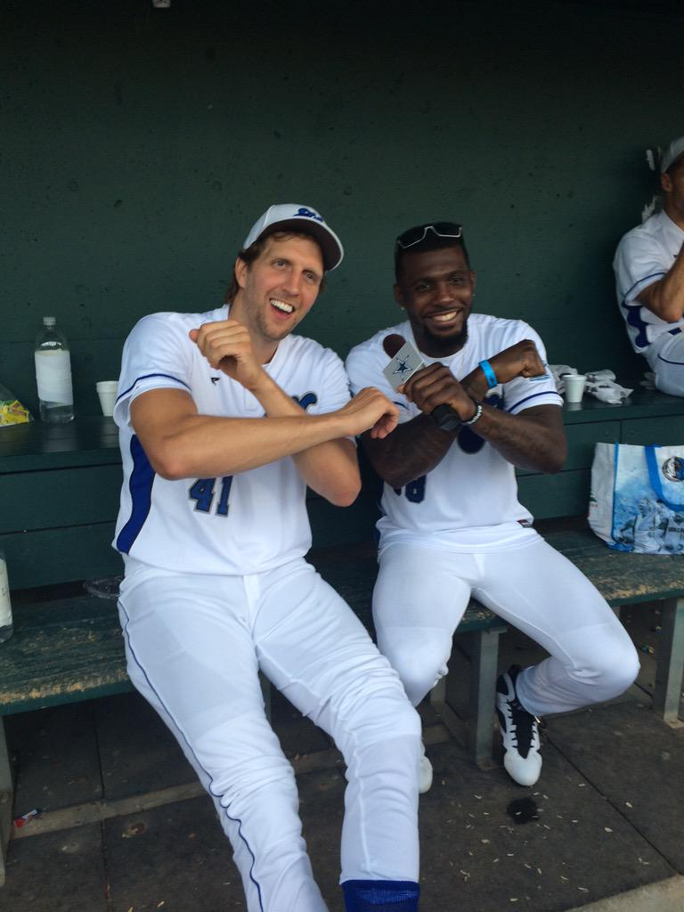 Dez Bryant performs a sick backflip during Dirk Nowitzki's charity baseball game