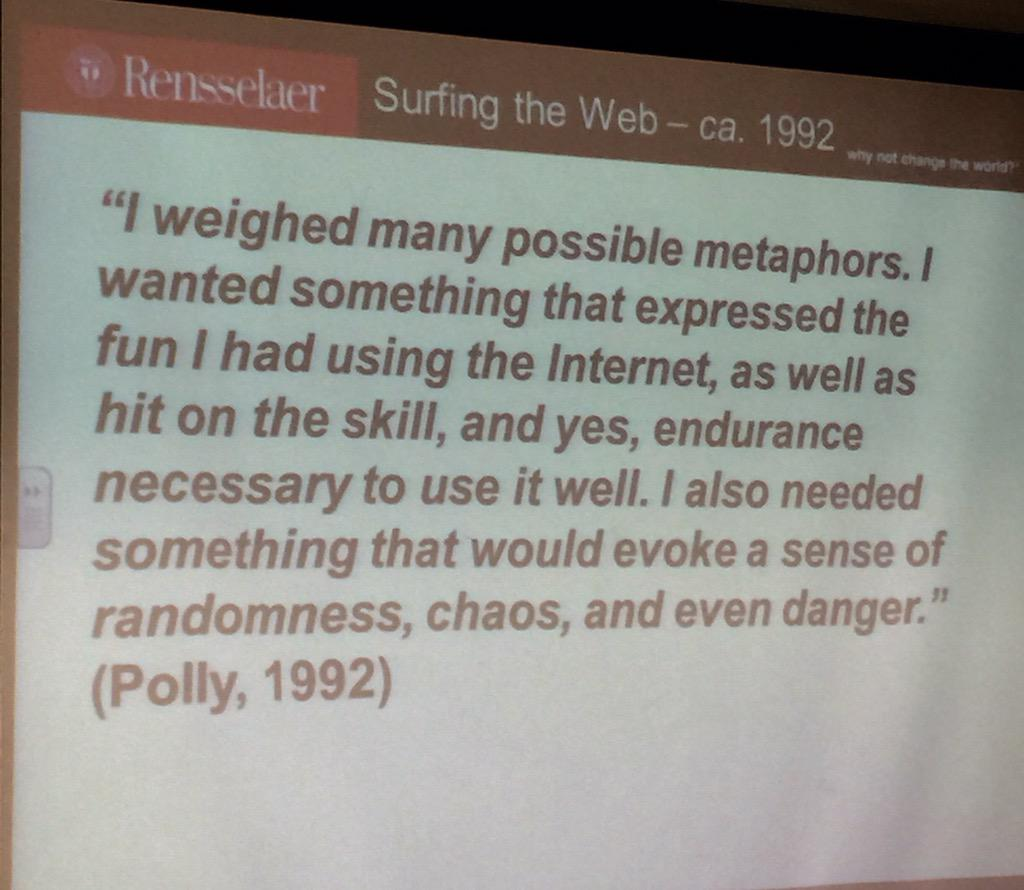 "Why do we ""surf"" the web? The term dates back to 1992! #websci15 http://t.co/NT41yXqLnT"