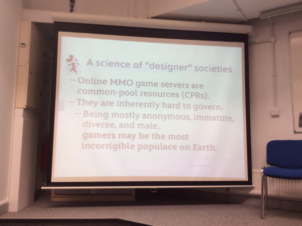 """Gamers... The most incorrigible populace on earth?"" Controversial! #websci15 http://t.co/N1VkVatn2N"