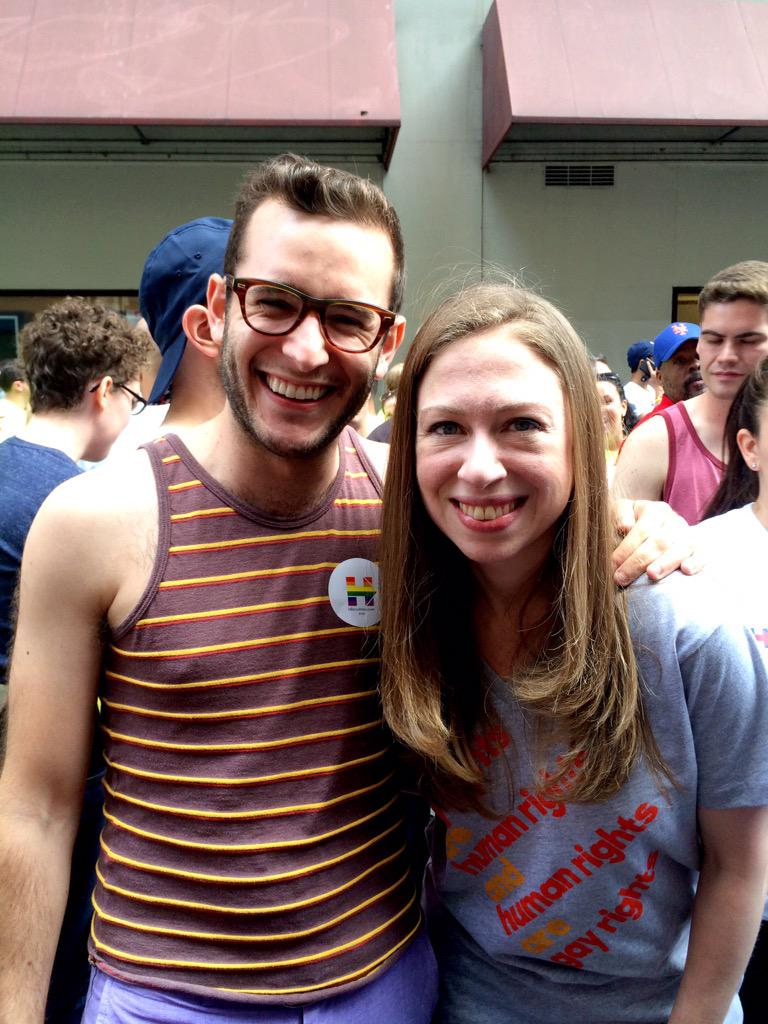 Proud to march with @ChelseaClinton, @jasoncollins98 & the @HillaryClinton campaign for #NYCPride2015! #LoveWins http://t.co/o0GKClqfPj