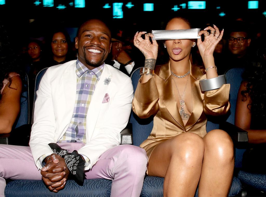 Rihanna duct-tapes Floyd Mayweather's mouth shut at BET Awards