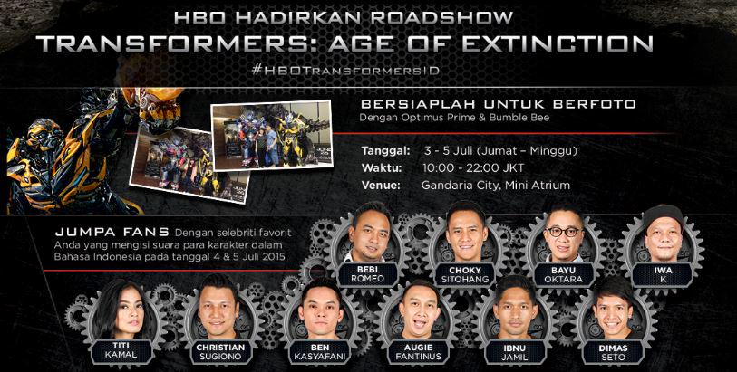 INDO: Meet Optimus Prime, Bumblebee & local celebrities at #HBOTransformersID roadshow on 3-5 July at Gandaria City. http://t.co/Uc4ttt4jCz