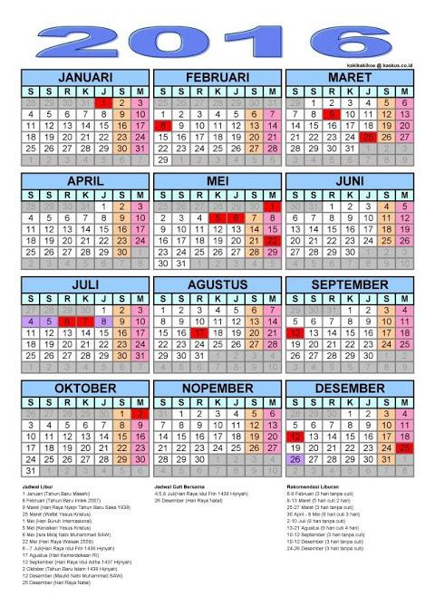 Jadwal Hari Libur Nasional Dan Cuti Bersama Tahun 2016 - AnekaNews.net