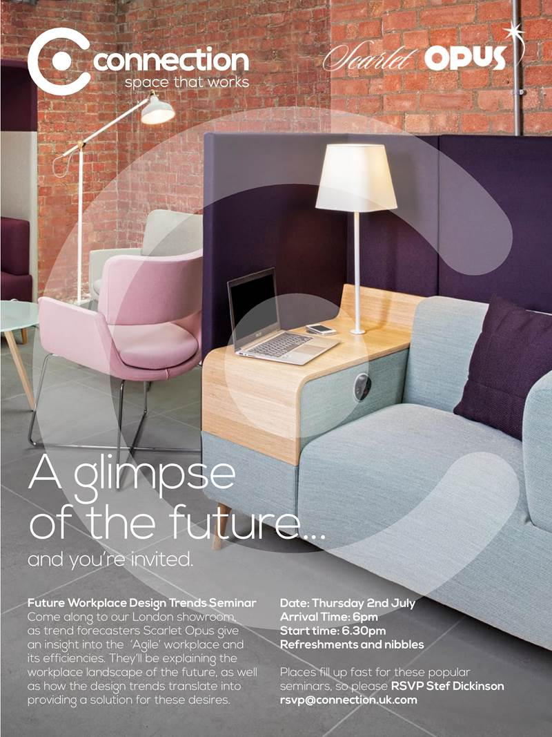 In #London this Thurs? Want 2 hear a gr8 #workplace #design #trends seminar @Connectiontweet with @scarletopus JoinUs http://t.co/RmLrBNV4dR