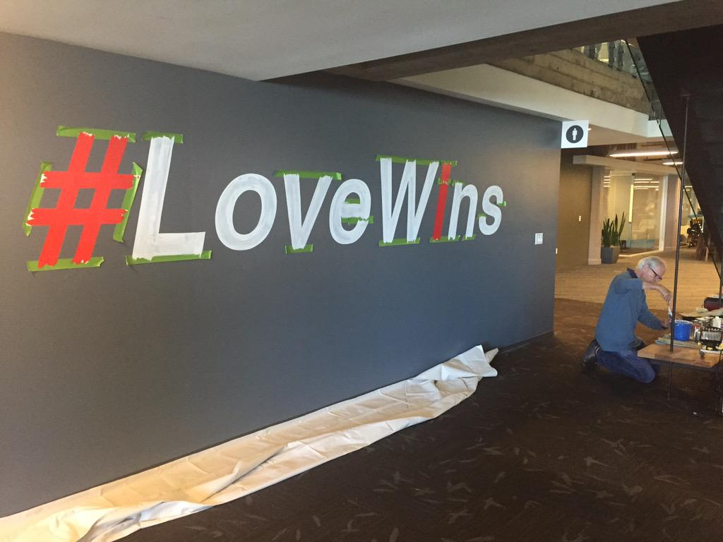 #LoveWins being painted @Twitter HQ by Larry David... http://t.co/wgIAnmXBe4