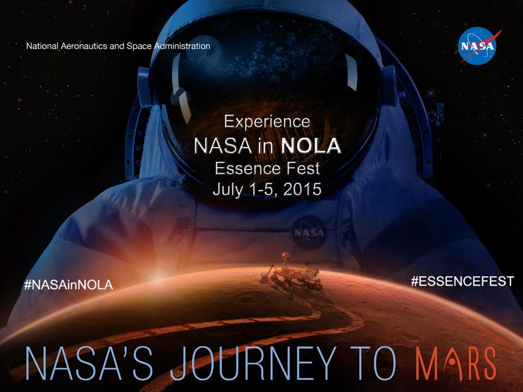 We're sharing our missions @ESSENCEFEST and @AudubonNature's Aquarium July 1-5! #NASAinNOLA http://t.co/dtOX0FXvNb http://t.co/xFJGG8VVZU