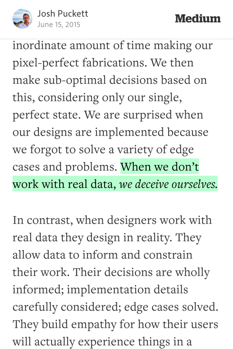 """""""When we don't work with real data, we deceive ourselves.""""—@joshpuckett https://t.co/8bQ4WDiJi3 http://t.co/b9ulwFTrdz"""