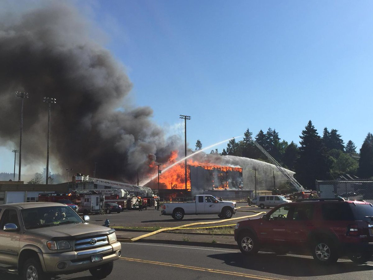 Civic Stadium's grandstands are in flames. http://t.co/UOf1PUN54v