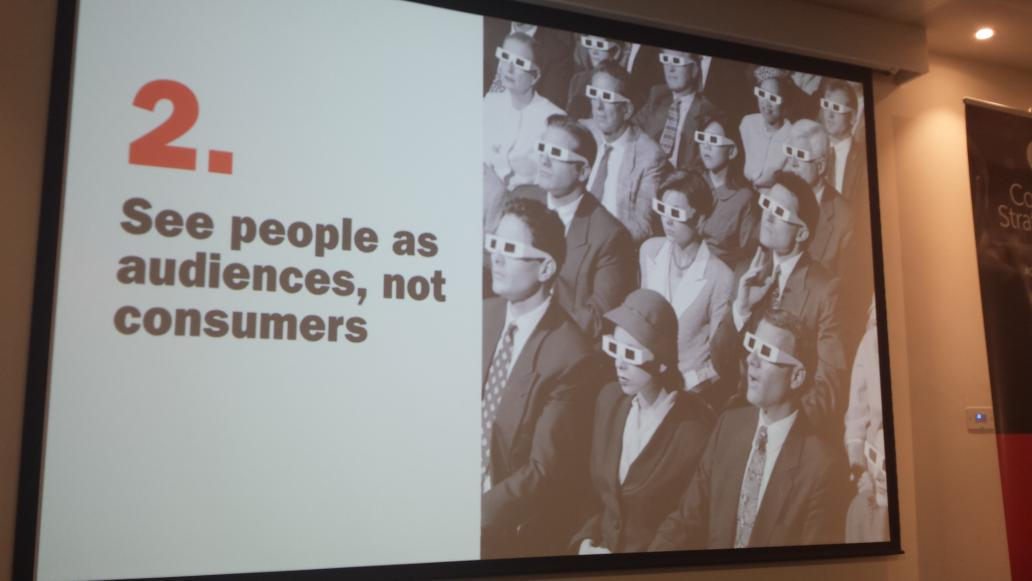 """RT @digit_ally: """"See people as audiences, not consumers"""" #ContentConf15 http://t.co/pChTxBdSUi"""