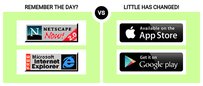 "In the early days of the web, we had badges indicating which browser should preferably be used to view a site. Today, the badges that ""encourage"" you to download an app just to get to the content are even worse."