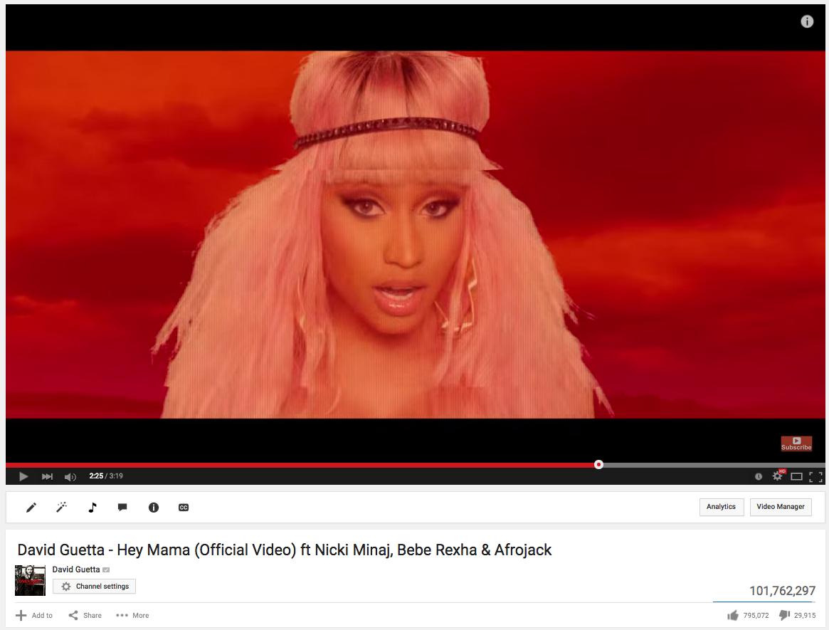More than 100 million views on #HeyMama Music Video !! 🎉🎉🎉 @NICKIMINAJ @BebeRexha @djafrojack https://t.co/BIVW3A6WSv http://t.co/fRhYujXGsC