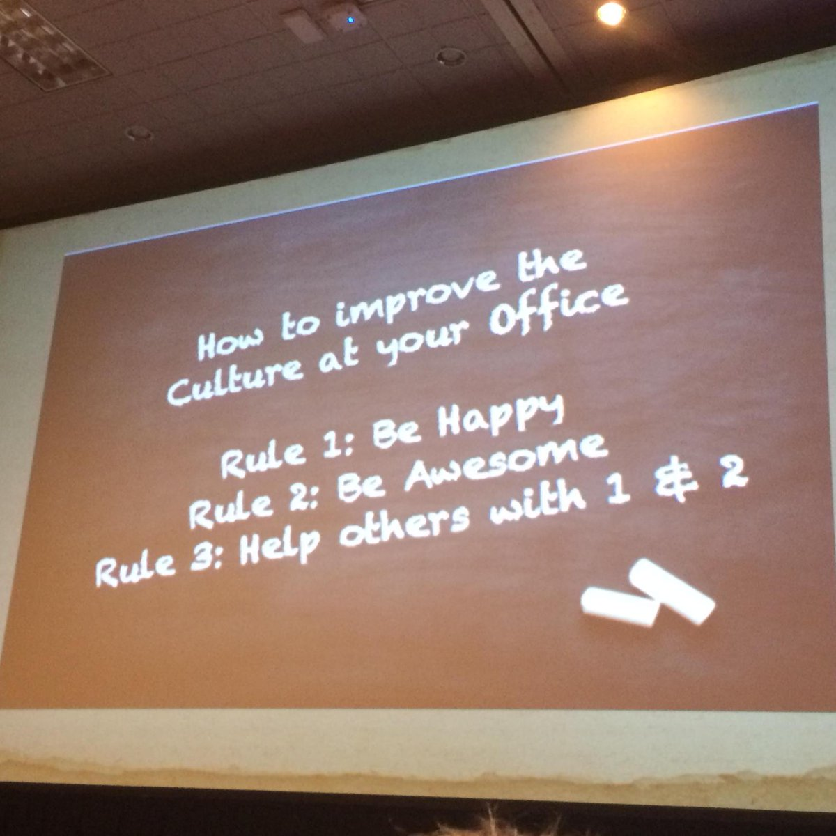 New rules for work: (1) Be Happy (2) Be Awesome (3) Help others with rules 1 & 2. @sbrownehr #shrm15 http://t.co/O0OzAHC24E