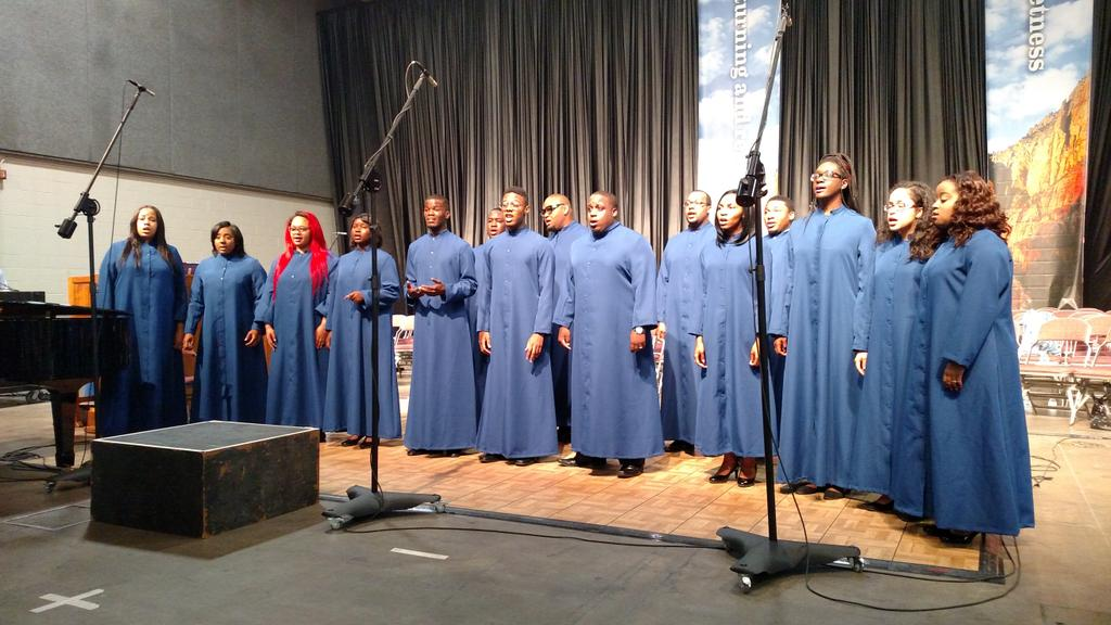 St. Augustine's and @VoorheesCollege choirs singing together at morning worship at #gc78 http://t.co/33Wtc35ETQ