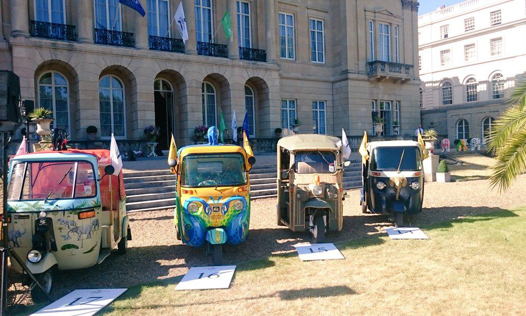 Colourful rickshaws looking great in the sun before the #travelstomyelephant event! @elephantfamily @Quintfoundation http://t.co/c127vgwMiD