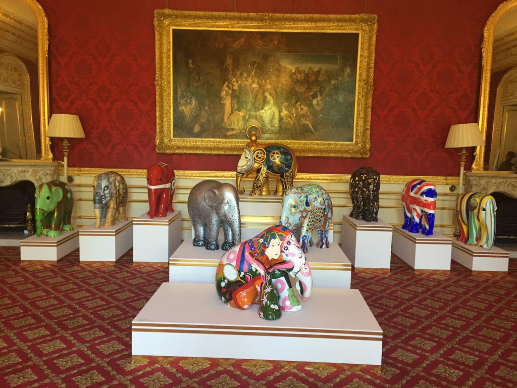 Our elephants making themselves at home at Lancaster House. @elephantfamily #travelstomyelephant http://t.co/2GB2F7G8Zp