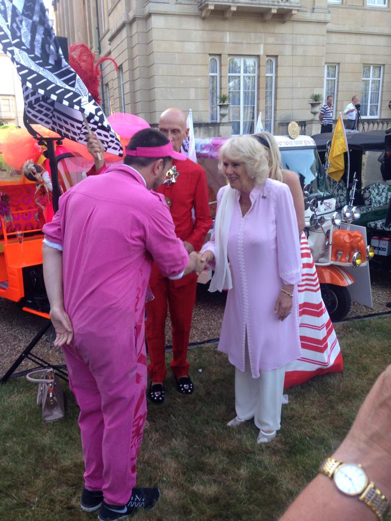 HRH with @piersatkinson @AndrewLoganAMW, designers of a #travelstomyelephant rickshaw along with @Zandra_Rhodes http://t.co/oq5U6x18hp